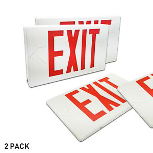 Etoplighting Emergency Led Exit Sign Red Letters With Battery Back up White Body