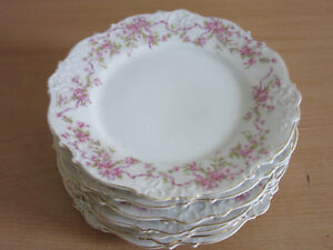 Set Of 8 Silesia Antique Victorian Fancy Floral Porcelain 7 75 Cabinet Plates