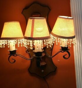 Vintage Antique Crystal 3 Light Wall Hung Clear Heavy Plastic Sconce Electric