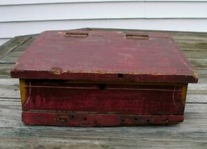 Antique Primitive Wood Slant Top Writing Desk Countertop Receipt Box Red Paint