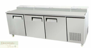 Pizza Salad Sandwich Prep Table 93 L Refrigerated 3 Door Stainless Steel New
