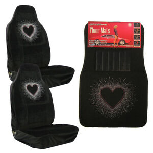 White Bling Heart Pink Line Crystal Rhinestone Car Floor Mats Seat Covers Combo