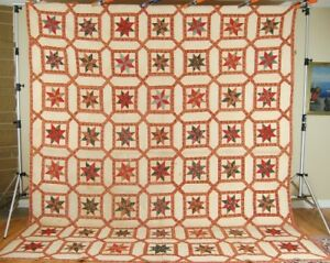 Museum Quality Vintage Early Chintz Stars Garden Maze Antique Quilt C 1830