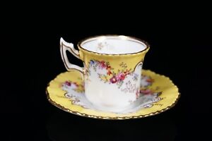 Rare Antique Coalport Hand Painted Bright Yellow Gold Demitasse Cup Saucer A