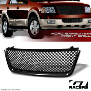 For 2003 2006 Ford Expedition Mesh Front Hood Bumper Grill Grille Glossy Black