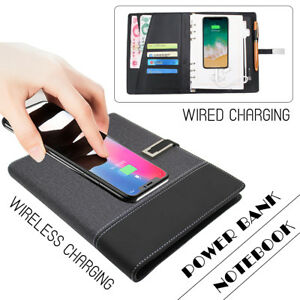 8000mah Usb Qi Wireless Charger Power Bank Business Notebook For Iphone Samsung