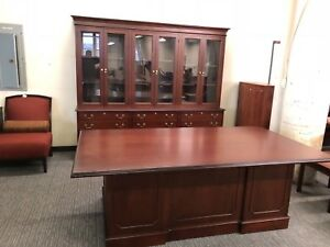 Executive Set Desk Credenza Hutch By Indiana Desk Co In Mahogany Finish Wood