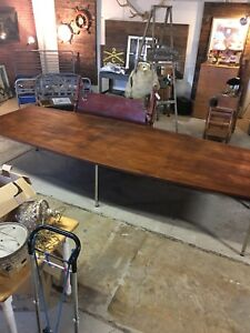 Mid Century Modern 12 Foot Boat Shaped Conference Table