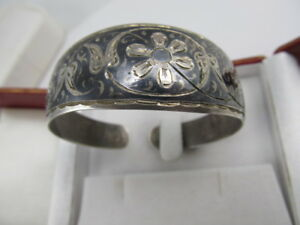 Russia 875 Silver Finely Tooled Floral Niello Cuff Bracelet V Good Cond