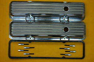 Sbc Chevy Polished Aluminum Valve Covers Tall Finned And Gaskets And Mini Studs