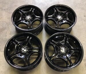 Set Of 17 Bmw 3 323i 325i Oem Gloss Black Wheels Rims 59344 59345 Style 68