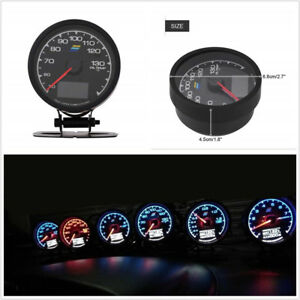 2 5 62mm Universal 7 Lights Color Led Car Suv Oil Temp Gauge Voltage Meter 12v