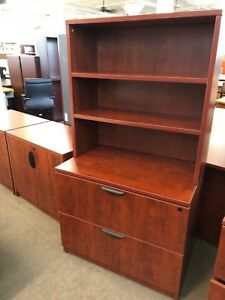 2 Drawer Lateral Size File Cabinet W Hutch By Marquis Collection Office Furnit