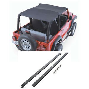 1992 95 Jeep Wrangler Yj Extended Top With Windshield Channels Black Denim