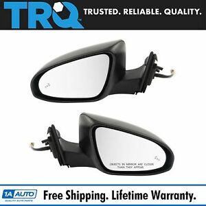 Mirror Power Heated Blind Spot Detection Smooth Black Pair Set For Camry New