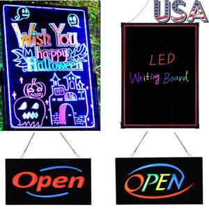 Flashing Illuminated Erasable Neon Led Message Menu Writing Sign Board W remote