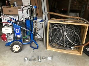 Graco Gh833 Hydraulic Gas Airless Paint Sprayer Complete Roof Rig 200 Hose