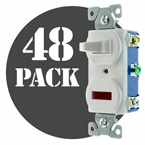 Hubbell Rc109wz Pilot Light Toggle Switch 1 pole 15a 120v White 48 pack