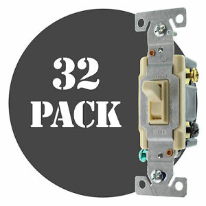 Hubbell Rs315ilcz Lighted Toggle Switch 3 way 15a 120v Ivory 32 pack
