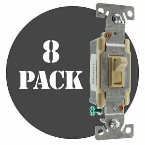 Hubbell Rs115ilcz Lighted Toggle Switch 1 pole 15a 120v Ivory 8 pack
