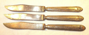 3 Antique Small Rogers Knives Silverplated