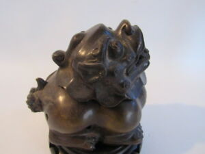 Antique Rare Chinese Bronze Foo Dog Incense Burner With Mark