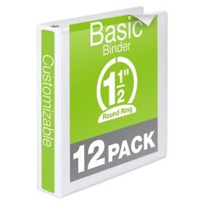 Wilson Jones 1 1 2 Inch Basic Round 3 Ring View Binders White 12 Pack New