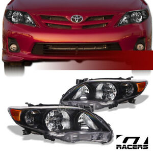 For 2011 2013 Toyota Corolla Crystal Headlights Signal Lamps Amber Dy Black