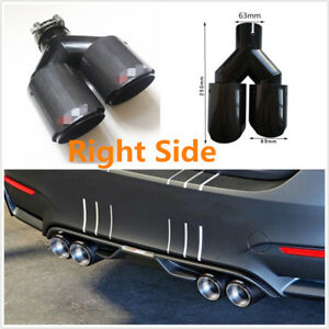 Universal Right Side Car Glossy Real Carbon Fiber Dual Dual Exhaust Pipe End Tip