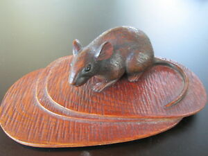 Okimono Japanese Mouse Art Statue Antique Japan Wooden Asian Meiji Period Era