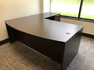 Executive L shape Desk W Right Hand Return In Espresso Color Laminate