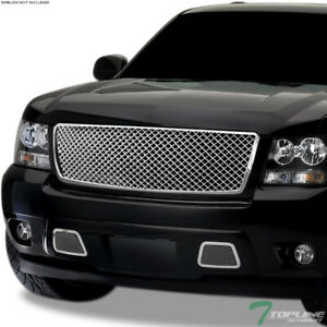 Topline For 2007 2014 Chevy Tahoe suburban Mesh Front Bumper Grille 1pc Chrome