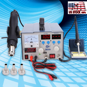 863d 3in1 Soldering Rework Station Smd Solder Iron Hot Air Gun Dc Power Supply