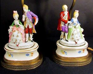 2 Vintage Porcelain Table Lamps Colonial Courting Couples W Brass Bases Ca 1940