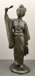 Japanese Bronze Okimono Woman With Flower Scarf Signed