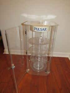 Vintage Pulsar Watch Jewelry Acrylic Countertop Rotating Display Case W key