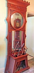 Antique Carved Geese Wood Pier Mirror Umbrella Stand Hall Tree Over 7 Feet Tall