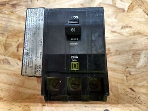 Square D Qo3601021 3 Pole 60 Amp Breaker With 120 Volt Shunt Trip