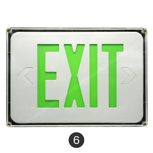 6pack Slim Low Profile Led Exit Sign Green White With Battery Backup