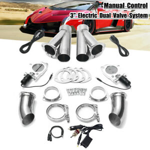 Dual 3 Electric Exhaust Valve Y Pipe Cutout E Cut System Manual Switch Control
