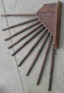 Antique Primitive Large Well Made Wall Mount 9 Spindle Drying Rack