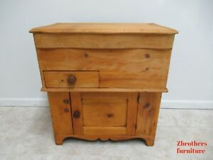 Antique Pine Dry Sink Cabinet Primitive Country Knotty Pine