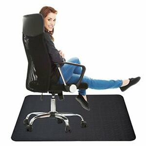 Oversized Office Black Chair Mat Straight Edge For Hard Floors 35x47 Inches