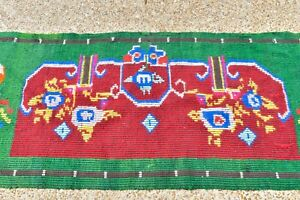 Antique European Victorian Handwoven Wool Small Blanket Or Rug