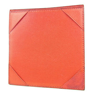 Auth Hermes Logos Leather Memo Pad Holder Case F s 2061