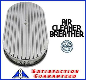 15 Polished Aluminum Oval Finned Breather Cleaner Air Filter Fit Chevy Ford
