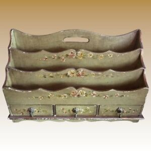 Antique French Toile Floral Painted Wood Secretary Desk Organizer