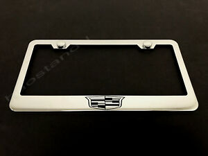 1x Cadillaccrest Logo Stainless Steel License Plate Frame Screw Caps