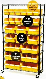 8 Shelf 24 Bin Rack Rolling Storage Shelving Commercial Storing Wire Shelves