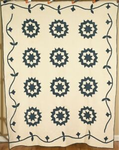 Amazing Vintage 1860s Indigo Blue White Carpenter S Wheel Stars Antique Quilt